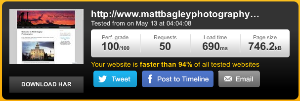 Website speeds of mattbagleyphotography.com